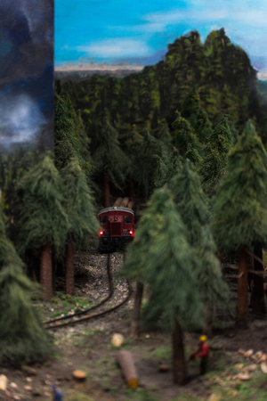 Close up of Miniature world, workers in forest and train