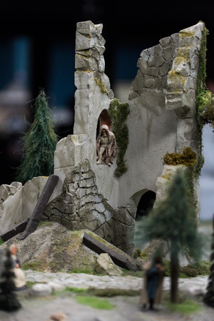 Close up of Miniature World, on the phantom castle ruins
