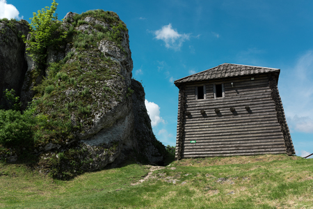 Old fortified settlement at the limestone mountain birmingham, Poland