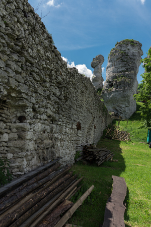 Photography of Ogrodzieniec Castle wall at sunny summer day, Poland May 2017 Ogrodzieniec City.
