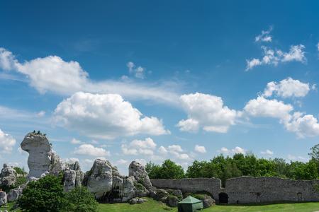 Kalksteinfelsen am Ogrodzieniec Schloss am sonnigen Sommertag, Polen Lizenzfreie Bilder