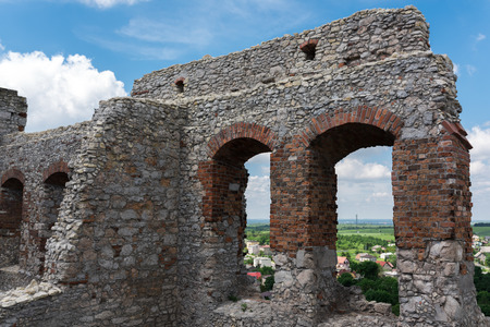 Photography of Ruins Ogrodzieniec Castle at sunny summer day. poland Stock Photo