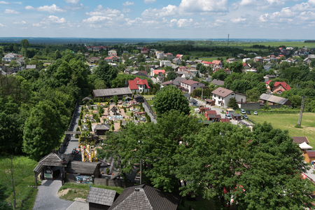 Panoramic photography of the Ogrodzieniec City from Castle Ogrodzieniec tower at sunny summer day, Poland May 2017. Standard-Bild