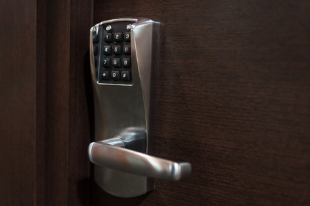 Hotel door handle with electronic security number system