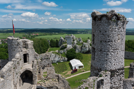 Photography of Ogrodzieniec Castle ruins during sunny fall day, Poland Europe Stock Photo