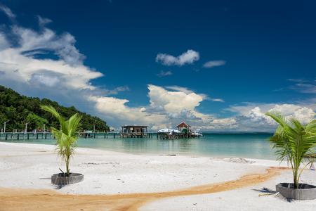 Tropical beach with turquoise water, blue sky and white sand. Saracen Bay, Koh Rong Samloem. Cambodia, Asia.