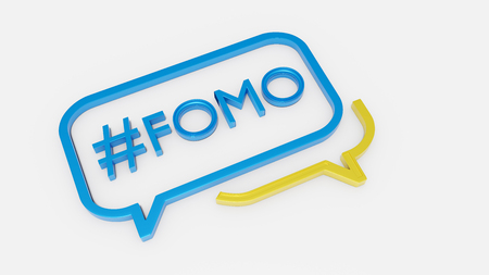 Concept of social media chat icon with text FOMO inside - Fear of Missing Out 3D render