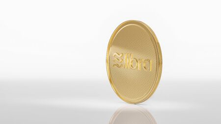 Concept of golden Libra coin with logo on front. New project of digital crypto currency payment. 3D render Coin placed on a white background.