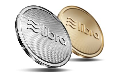 Concept of golden and silver. Libra coins with logo on front. New project of digital crypto currency payment. 3D render Coin placed on a white background. 写真素材