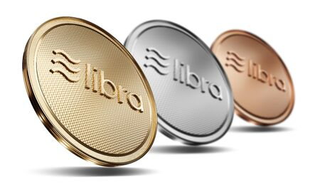 Concept of golden, silver and cooper. Libra coins with logo on front. New project of digital crypto currency payment. 3D render Coin placed on a white background. 写真素材