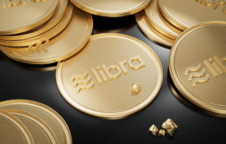 Concept of golden Libra coin with logo on black and gold nuggets placed on black polished surface. New project of digital crypto currency payment. 3D render of Coin. 写真素材