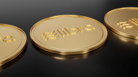 Concept of golden Libra coins with logo on black polished surface. New project of digital crypto currency payment. 3D render