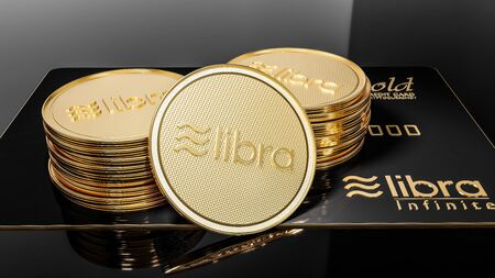View of Libra black credit card GOLD and golden Libra coins placed on a black background. Project Libra conceptual design. 3D render