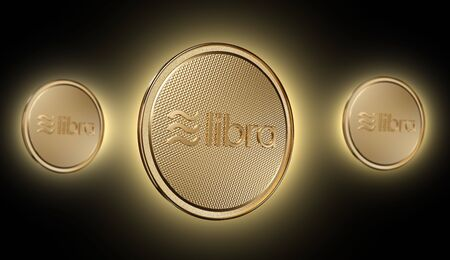 Concept of golden Libra coin with logo on front. New project of digital crypto currency payment. 3D render Coin placed on a dark red background.