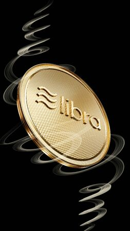 Concept of golden Libra coin with logo on front. New project of digital crypto currency payment. 3D render Coin placed on a black background.