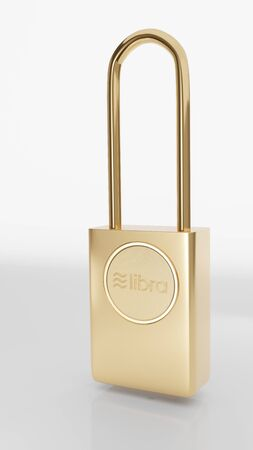 Illustration of golden libra padlock standing at the white background. Symbolizes the security of crypto currencies in the network. 3D render model.