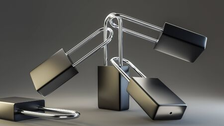 Illustration of conected black and white steel padlocks. 3D render model.