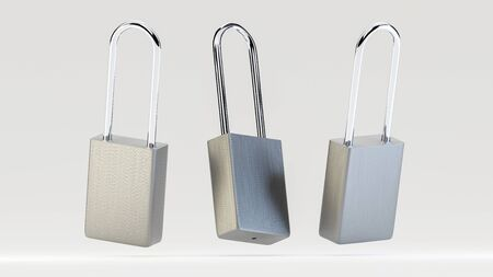 Illustration of simple silver steel padlocks levitating in the air on the white background. 3D render model.