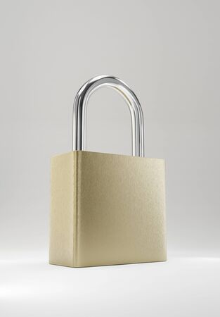 Illustration of a simple steel padlock. Isolated on white background. 3D render model. 写真素材