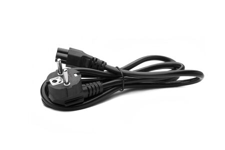 Black Power supply cable  power cord 220W European standard with ground, on the white background isolated.