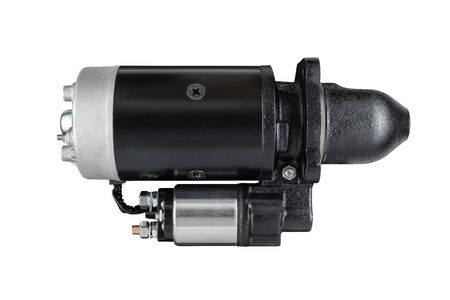 3kW starter motor for tractor or other agricultural machinery placed on white isolated background.