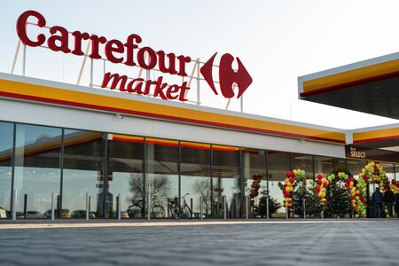 Katy Wroclawskie, Poland - December 20, 2019: Official big opening of Carrefour discount market at the Shell station Katy Wroclawskie. Editorial