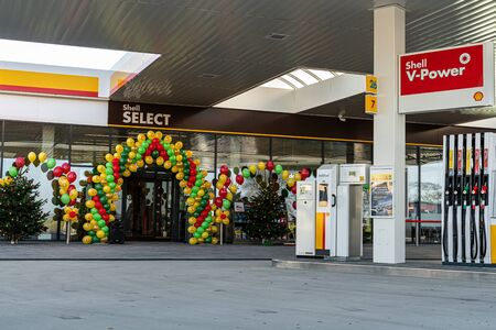 Katy Wroclawskie, Poland - December 20, 2019: Official big opening of Shell gas station. Sajtókép