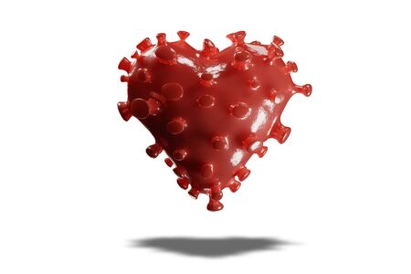 Concept of heart shaped Corona Virus 2019ncov on white isolated background. 3D rendering.