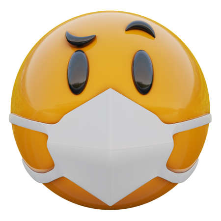 3D render of Suspicious yellow emojiface in medical mask protecting from coronavirus 2019-nCoV, MERS-nCoV, sars, bird flu and other viruses, germs and bacteria and contagious disease.