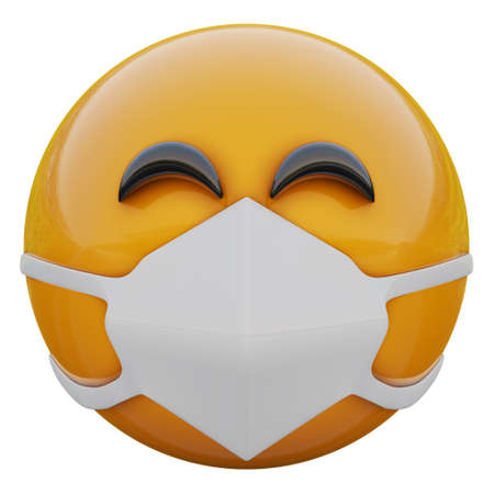 3D render of satisfied yellow emojiface in medical mask protecting from coronavirus 2019-nCoV, MERS-nCoV, sars, bird flu and other viruses, germs and bacteria and contagious disease.