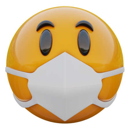3D render of calm yellow emojiface in medical mask protecting from coronavirus 2019-nCoV, MERS-nCoV, sars, bird flu and other viruses, germs and bacteria and contagious disease.