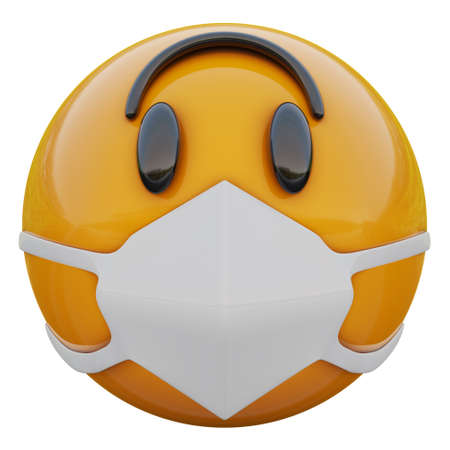 3D render of suprisedyellow emojiface in medical mask protecting from coronavirus 2019-nCoV, MERS-nCoV, sars, bird flu and other viruses, germs and bacteria and contagious disease. Zdjęcie Seryjne
