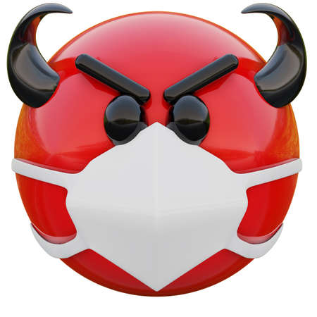 3D render of evil red emoji face with horns in medical mask protecting from coronavirus 2019-nCoV, MERS-nCoV, sars, bird flu and other viruses, germs and bacteria and contagious disease. Zdjęcie Seryjne