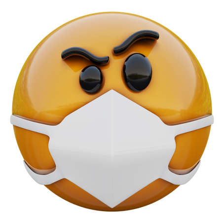 3D render of Suspicious yellow emoji face in medical mask protecting from coronavirus 2019-nCoV, MERS-nCoV