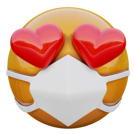 3D render of Heart-Eyes yellow emoji face in medical mask protecting from coronavirus 2019-nCoV, MERS-nCoV