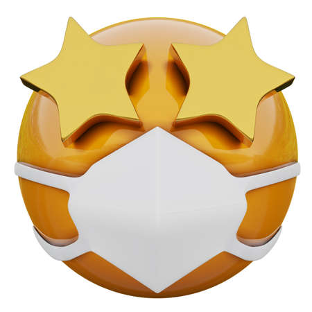 3D render of yellow emoji smirking face with Starry Eyes in medical mask protecting from coronavirus 2019-nCoV, MERS-nCoV, sars, bird flu and other viruses, germs and bacteria and contagious disease.