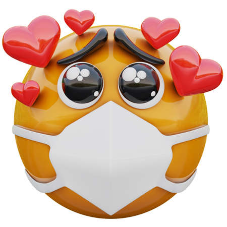 3D render of yellow emoji face fall in love within medical mask protecting from coronavirus 2019-nCoV, MERS-nCoV, sars, bird flu and other viruses, germs and bacteria and contagious disease. Zdjęcie Seryjne