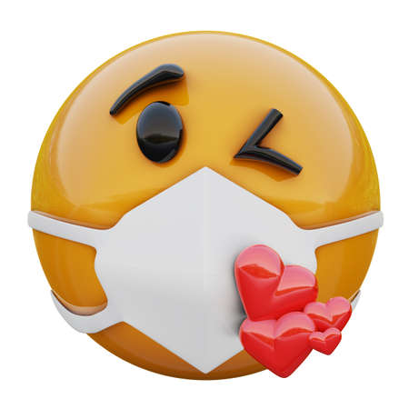 3D render of yellow emoji face sending a Kiss within medical mask protecting from coronavirus 2019-nCoV
