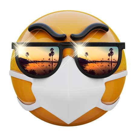 3D render of yellow emojiface with sunglasses and medical mask protecting from coronavirus 2019-nCoV