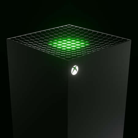 Wrocław, Poland - July 12 2020: Xbox Series X home video game console by Microsoft. 3d render concept model. Copy space