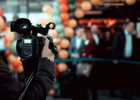Wroclaw, Poland - December20 2019: Official grand opening of Shell station placed in Katy Wroclawskie. Event is recorded on a Sony digital video camera by camera operator. Editorial