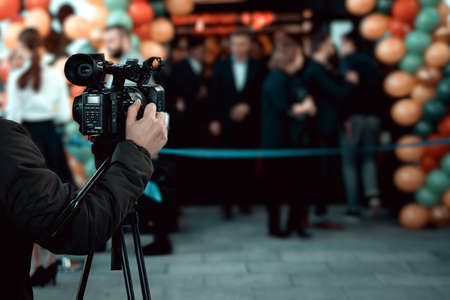 Wroclaw, Poland - December20 2019: Official grand opening of Shell station placed in Katy Wroclawskie. Event is recorded on a Sony digital video camera by camera operator. Publikacyjne