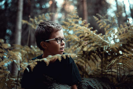 Portrait of happy Young teenager boy playing In the forest, hiding behind fern.