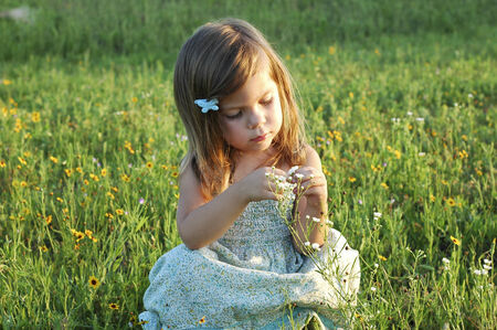 A little girl sitting in a field of flowers Stock Photo