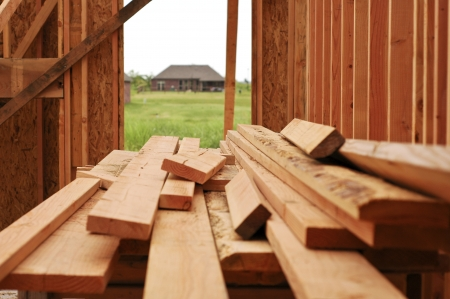 2x4 wood: New construction lumber for a house frame