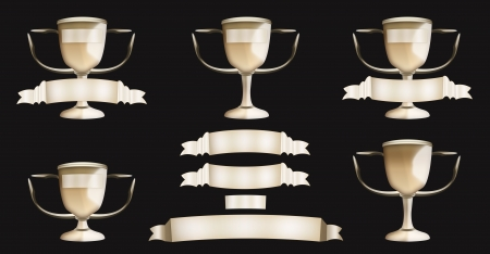 Golden trophies and banners set Stock Photo