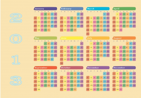 New year 2013 colorful wall calendar Vector