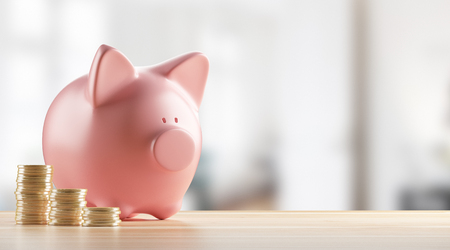 Piggy bank with coins or money, 3d render illustration Stock Photo