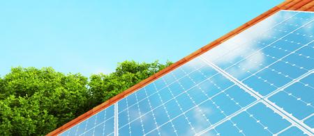Sonnenkollektoren auf dem Dach, alternative Energie, machen