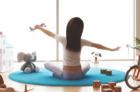 Woman doing exercise in the morning, 3d render